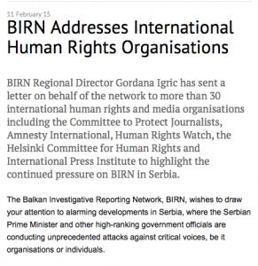 BIRN souhaite attirer votre attention. Le gouvernement mène des attaques systématiques contre les voix critiques, que ce soit celles d'organisations ou d'individus.