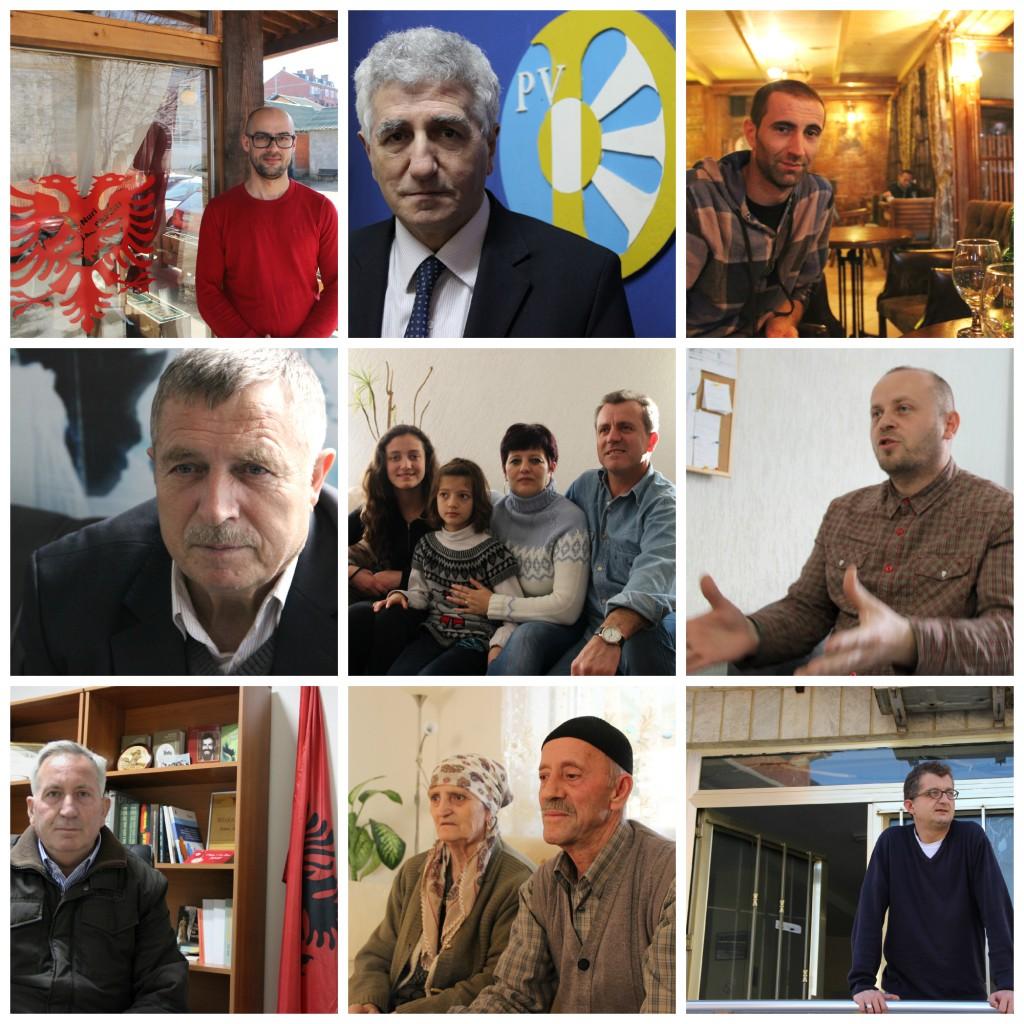 De g. à d. de h. en b. Ilir Sadriu, Riza Halimi, Valon Arifi, Stojan Arsić, la famille Haliti, Skender Saqipi, Jonuz Musliu, Sevdije et Nehat Haliti, Belgzim Kamberi