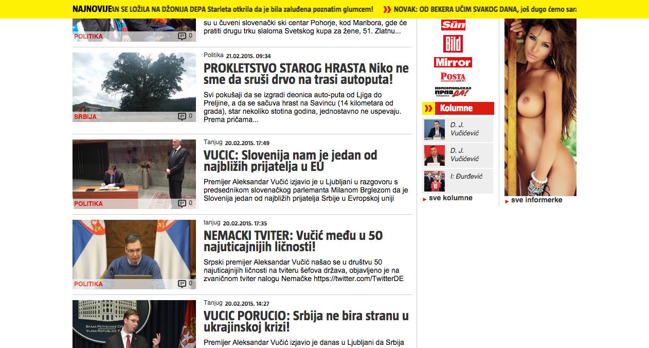Le tabloïd Informer et sa version en ligne sont à la pointe de la propagande pro-Vucic